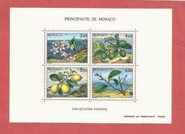MONACO , Bloc N° 51 , 18 Frs , Les Quatre Saisons Du Citronnier , 1990 , NEUF ** - Blocs