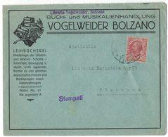 YN123   Regno - Busta Pubblicitaria  LIBRERIA VOGELWEIDER BOLZANO Per Piacenza 10c Leoni - Marcophilie