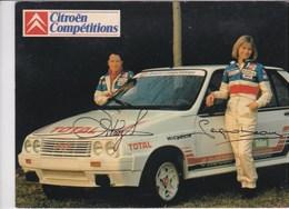 Ecurie Citroen Compétition ,écurie 1985 Pilote Sylvie Seignobeaux ,copilote Sylviane Sitraz ,publicité Total Michelin - Rallyes