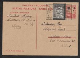 POLAND - POLEN - 1935 10gr On 20gr PS CARD Mi.# P47 Uprated 25gr To USA - 15.IX.35 - 1919-1939 Republik