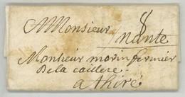 LàC 1695 De Paris à M. Morin Fermier De La Caillère à Thiré (Vendée) . Marques 8 Sols + Nante Manuscrit (Nantes) - Postmark Collection (Covers)