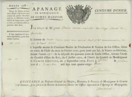 Apanage Comte D'Artois . Reçu Centième Denier 1782 . Jean-Charles Vexiau Conseiller Au Siège Royal De Fontenay-le-Comte - Historical Documents