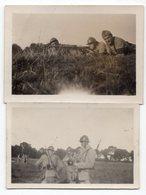 SOLDATS AU CAMP DE SATORY MITRAILLEUR 1915   2 PETITES PHOTOS 1928 - Guerre, Militaire