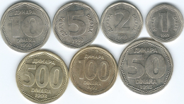 Yugoslavia - Federal Republic - 1993 - 1, 2, 5, 10, 50, 100 & 500 Dinara (KMS 154-159 & KM167) - Yougoslavie