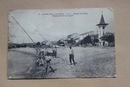 CPA   06  CROS DE CAGNES  BORD DE MER  PECHEURS A LA LIGNE - France