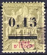 Côte D'Ivoire 1904 Yv 20, Mi 20, Aminci Au Dos, Used O, Je Vends Ma Collection! - Côte-d'Ivoire (1892-1944)