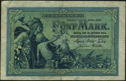 GERMANY - 5 Mark 31.10.1904 {6 Digit Serial #} Fine P.8 A - [ 2] 1871-1918 : Duitse Rijk