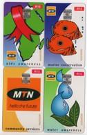 AFRIQUE DU SUD LOT 4 CARTES MTN à PUCE TRANSPARENTS CARDS - Afrique Du Sud