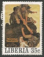 572 Liberia Scout Norman Rockwell Escalade Montagne Mountain Climbing Sans Gomme No Gum (LBA-286) - Scoutisme