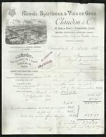 ALCOOLS , SPIRITUEUX & VINS EN GROS . CLAUDON & COMPAGNIE . CHARENTON  LE : 03 AOÛT 1893  . - 1800 – 1899