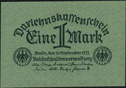 GERMANY - 1 Mark 15.09.1922 UNC P.61 A - [ 3] 1918-1933: Weimarrepubliek