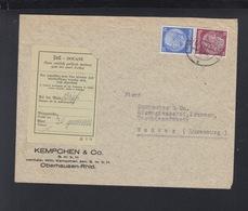 Dt. Reich Brief 1939 Oberhausen Nach Luxemburg Zoll - Cartas