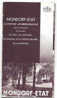 Luxembourg Beau Dépliant MONDORF ETAT Thermalisme Vers 1920 - Publicités