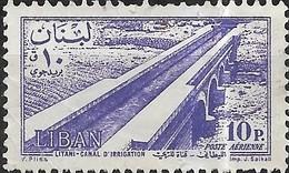LEBANON 1957 Air. Litani Irrigation Canal - 10p - Violet MNG - Líbano