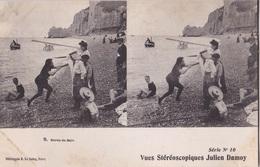 SORTIE DE BAIN VUES STEREOSCOPIQUESS JULIEN DAMOY SERIE N.10 AUTENTICA 100% - Cartoline Stereoscopiche