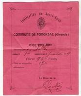 Podensac (33 Gironde) Témoignage De Satisfaction Institution Du Sacré Coeur 1919 (PPP17586) - Diplômes & Bulletins Scolaires