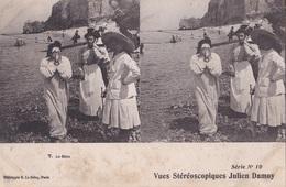 LE BAIN VUES STEREOSCOPIQUESS JULIEN DAMOY SERIE N.10 AUTENTICA 100% - Cartoline Stereoscopiche