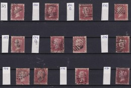 GB - 1858-1864 - Queen Victoria - SG 38 - YT 26 - Lot Of 12 ONE Penny Red - 4 Large Letters -  Plate Numbers 169 - 180 - 1840-1901 (Victoria)