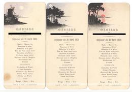Lot De 3 Menus De Mariage - Déjeuner Du 21 Avril 1925 - Menu