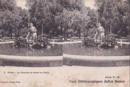 ROME LA FONTAINE DE MOISE AU PINCIO VUES STEREOSCOPIQUESS JULIEN DAMOY SERIE N.10 AUTENTICA 100% - Cartoline Stereoscopiche