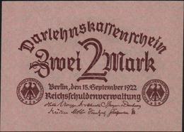 GERMANY - 2 Mark 15.09.1922 UNC P.62 - [ 3] 1918-1933: Weimarrepubliek