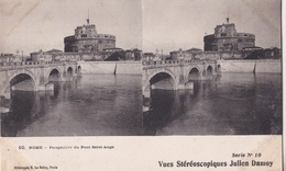 ROME PERSPECTIVE DU PONT SAINT ANGE VUES STEREOSCOPIQUESS JULIEN DAMOY SERIE N.10 AUTENTICA 100% - Cartoline Stereoscopiche