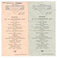 Lot De 2 Menus  - Diner Du 18 Septembre 1933 - Entête En Relief - Menus