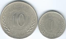 Yugoslavia - Socialist - 1976 - FAO - 1 Dinar (KM61) & 10 Dinara (KM63) - Yougoslavie