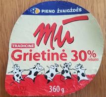 Lithuania Litauen Sour Cream  30% 360 G. - Opercules De Lait