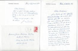 Georges Conchon (1925-1990) ECRIVAIN 1 LAS + 1 CARTE DE VISITE AUTOGRAPHE ORIGINAL AUTOGRAPH /FREE SHIP. R - Autographes