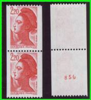 Liberté Roul 2379+2379a - N° Rouge Verso - Gomme Blanche -(v512) - Roulettes