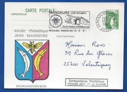 Carte Entier Postale Type Sabine Théme Abeille    Oblitération:  Beaulieu  Mandeure 15-6-1981 - Marcofilie (Brieven)