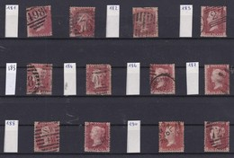 GB - 1858-1864 - Queen Victoria - SG 38 - YT 26 - Lot Of 12 ONE Penny Red - 4 Large Letters -  Plate Numbers 181 To 190 - 1840-1901 (Victoria)
