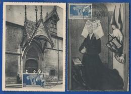 2 Cartes Postale Avec Timbres N°583 Et 583 C     Nuance De Couleur Oblitération: M  Beaune 21 Juillet 1943 - Postmark Collection (Covers)