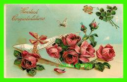 FLOWERS, FLEURS - HEARTIEST CONGRATULATIONS - TRAVEL - GERBE DE ROSES , FIL D'OR, ABEILLE - - Fleurs