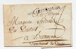 !!! MARQUE POSTALE ARMEE DU BAS RHIN SUR LETTRE SANS TEXTE - Marcophilie (Lettres)