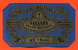 étiquette Ancienne De Sillery Grand Mousseux Renaudin Bollinger à Ay - 75 Cl - Champagne