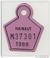 Plaque De Vélo  - Belgique / Province Hainaut 1988 - Plaques D'immatriculation