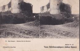 PAYS BASQUE CHATEAU FORT DE MAULEON VUES STEREOSCOPIQUESS JULIEN DAMOY SERIE N.12 AUTENTICA 100% - Cartoline Stereoscopiche