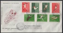SAINT MARIN - SAN MARINO - JEUX OLYMPIQUES / 1960 NON DENTELES SUR ENVELOPPE FDC / (ref 6938) - Lettres & Documents