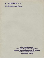 L. CLAUSE   BRETIGNY SUR ORGE ,NOTE D'INFORMATION MISE A LA DISPOSITION DU PUBLIC , RELATIVE A L'AUGMENTATION DU CAPITAL - Actions & Titres