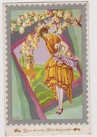 Cartolina Illustrata BONORA,  Ragazza A Pasqua  - F.p.  - Anni  '1910 - Illustratori & Fotografie