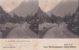 CAUTERETS ROUTE DU PONT D'ESPAGNE  VUES STEREOSCOPIQUESS JULIEN DAMOY SERIE N.12 AUTENTICA 100% - Cartoline Stereoscopiche