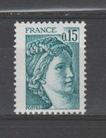 FRANCE / 1978 / Y&T N° 1966b **  : Sabine 15c Vert-bleu - Gomme (tropicale = Mate) D'origine - France
