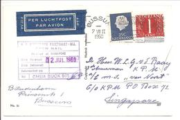 Bussum>M.S. Van Noort >Singapore Crew Mail  1960. Correct Franking - Lettres & Documents