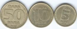 Yugoslavia - Federal - 1996 - 5 Para (KM164.2) 1995 - 10 Para (KM165.2) & 50 Para (KM163a) - Yougoslavie