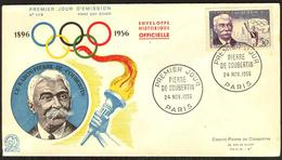 {F046} France 1956 Olympics Coubertin FDC See Scan !! - FDC