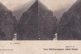 CAUTERETS VUES STEREOSCOPIQUESS JULIEN DAMOY SERIE N.12 AUTENTICA 100% - Cartoline Stereoscopiche
