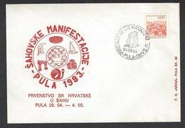Chess, Yugoslavia Pula, 04.05.1983, Special Cancel & Cachet On Envelope, Croatian Championship - Schach