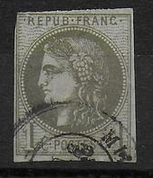 YVERT N° 39C REPORT III OBLITERE - COTE = 175 EUROS - MARGE COURTE (ANGLE) SINON TB - 1870 Emission De Bordeaux